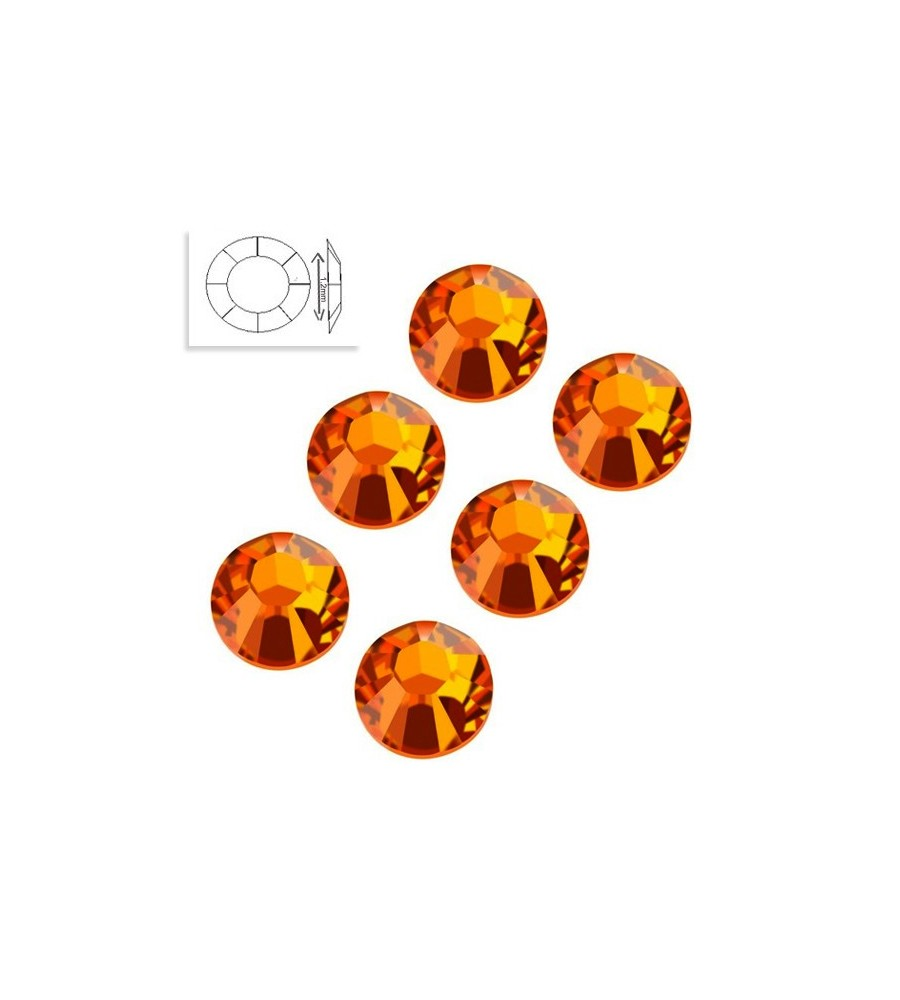 Strass Swarovski SS4 Orange Sun manucure ongles et nail art en gel uv
