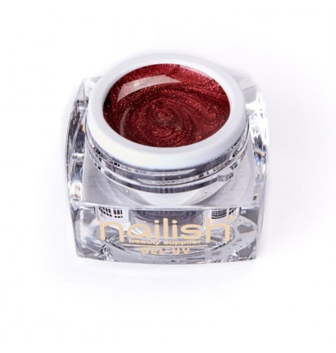 UV Gel Glitter Nailish Red Treasure 5ml pour manucure ongles et nail art en gel uv.