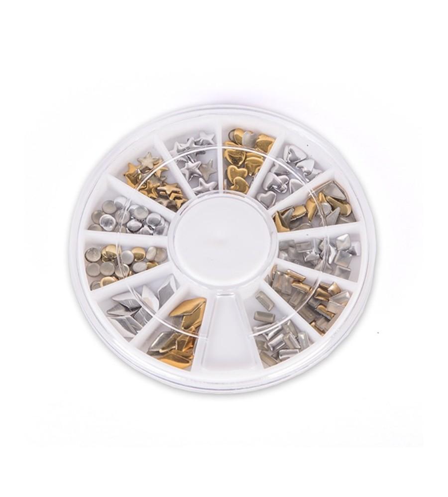 Caroussel Décors 3 D argent et dorés pour manucure ongles et nail art en gel uv.