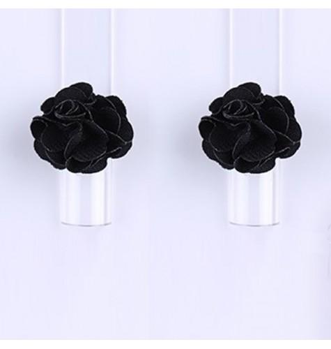 Décor 3D Fleur Aimant Tissu Black 1 pcs
