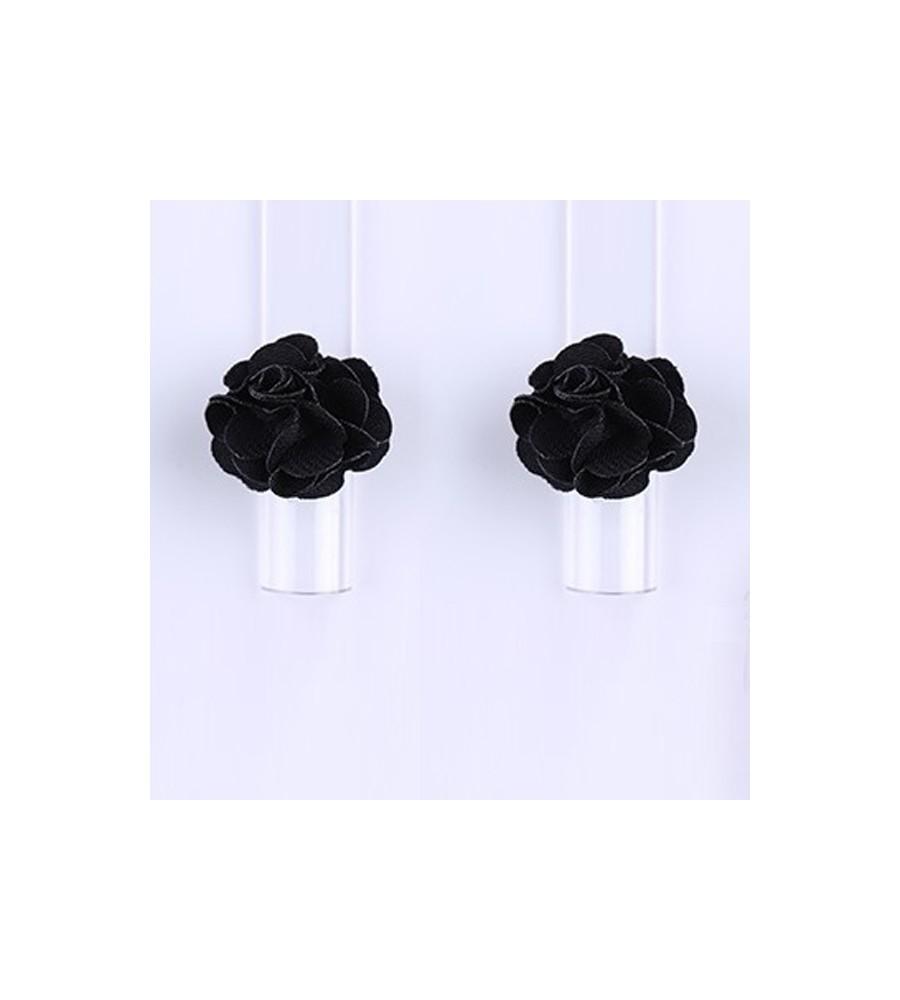 Décor 3D Fleur Aimant Tissu Black 1 pcs pour manucure ongles et nail art en gel uv