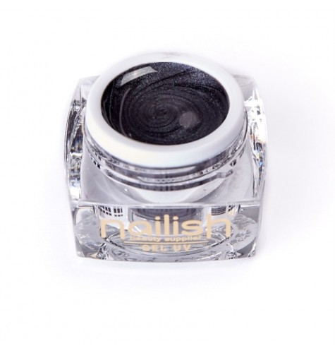 Gel UV Nailish Pearly Black 5ml pour manucure ongles et nail art en gel uv.