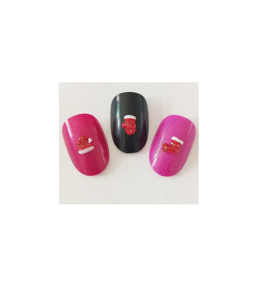 Décor 3D Gant Rouge Cristaux 1 pcs - manucure ongles et nail art