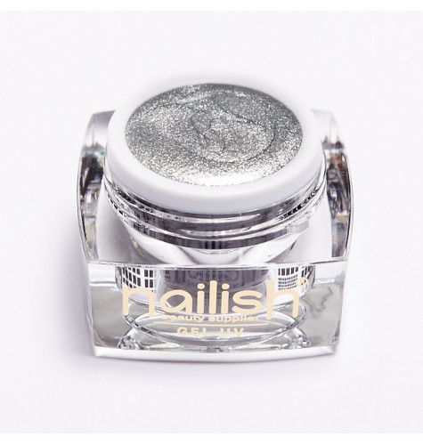 Gel UV Glitter Nailish Pearly Silver 5 ml pour manucure ongles et nail art en gel uv.