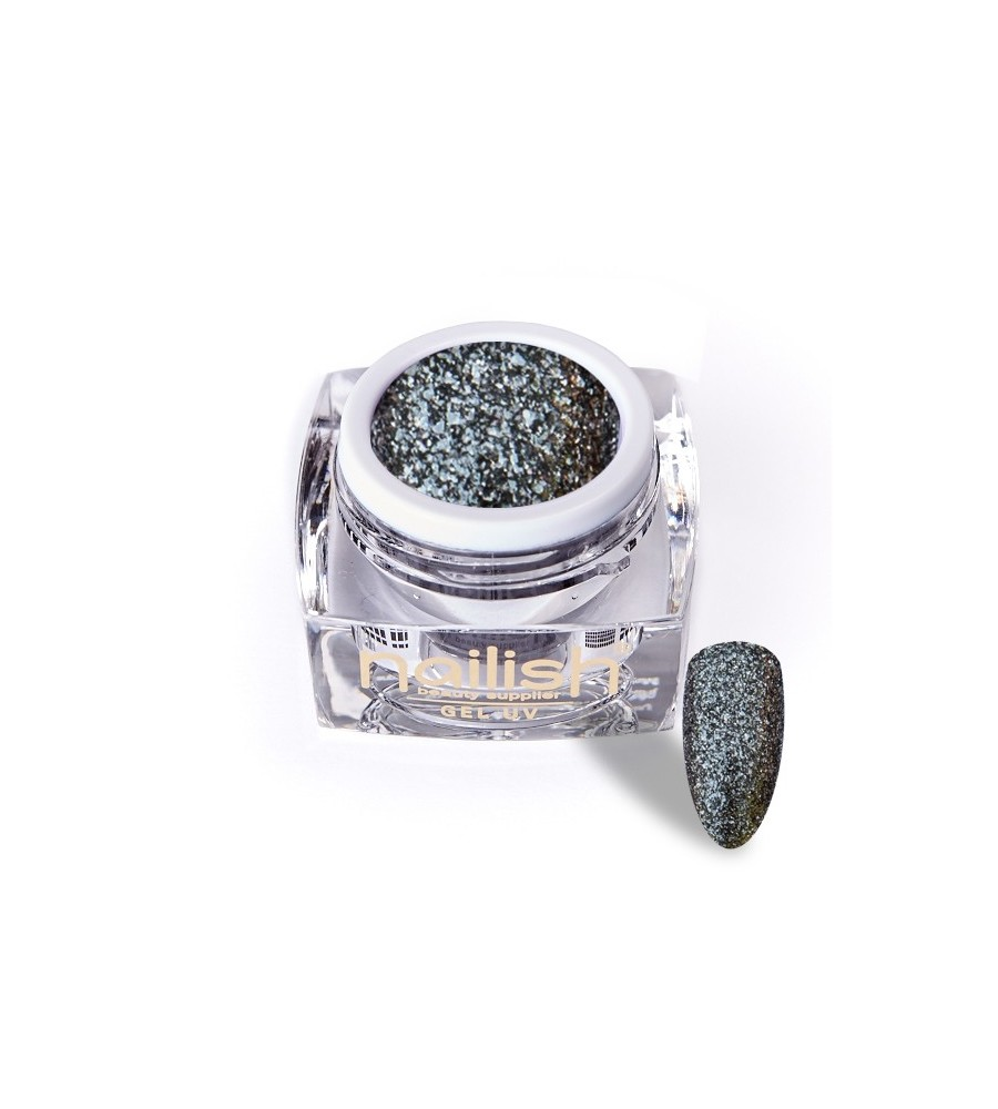 Gel Glitter UV/LED Luxury Dark Silver 5ml pour manucure ongles et nail art en gel uv.