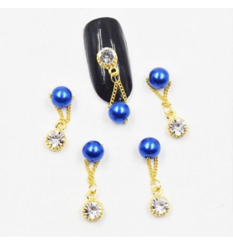 Décor 3D Strass et Perle Bleu.