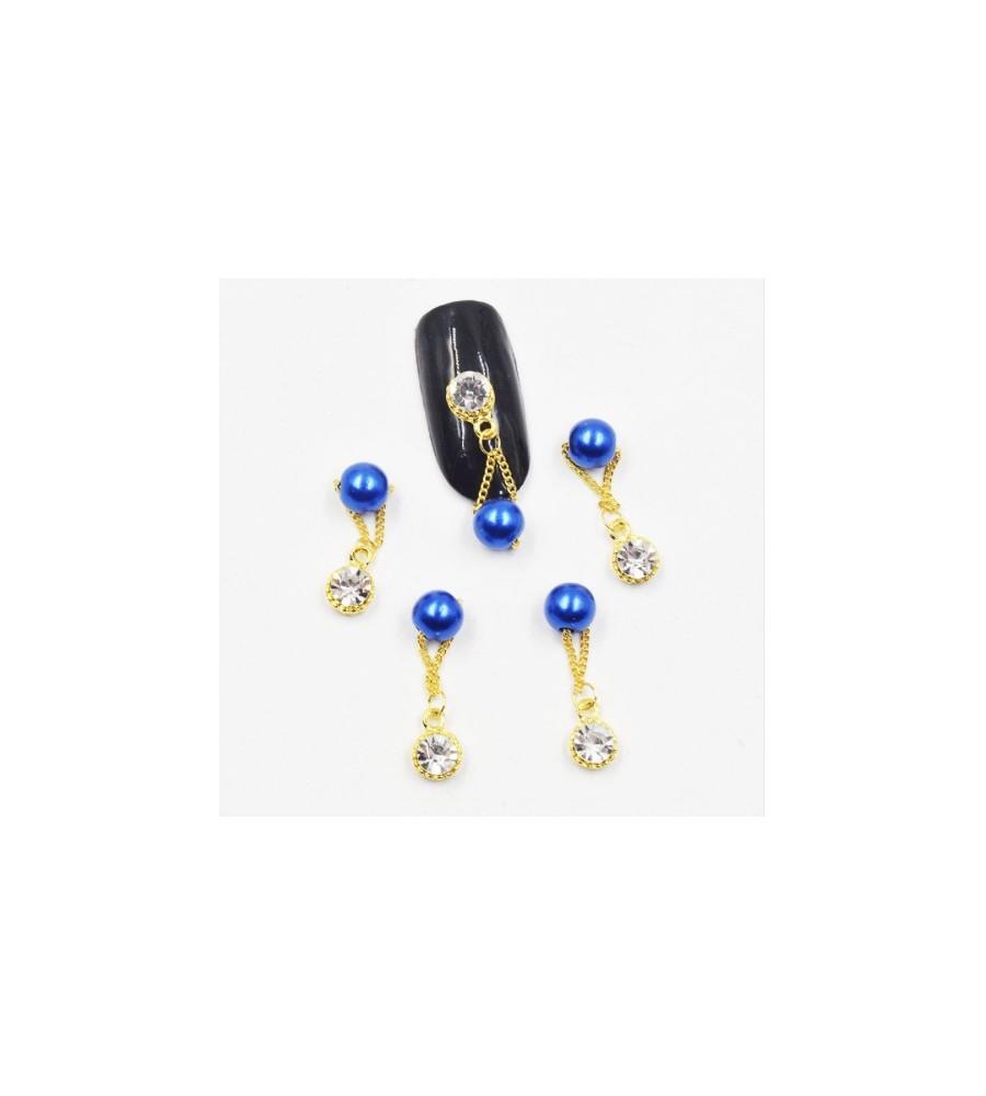 Décor 3D Strass et Perle Bleu
