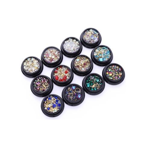 Kit 12 boites Strass et décoration 3d pour nail art