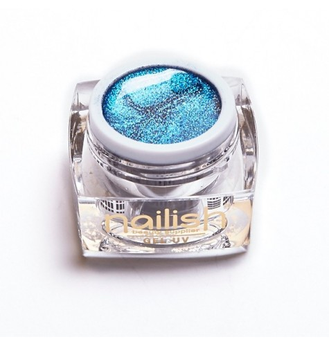 Gel UV - LED Glitter Nailish Blue Fine 5 ml.